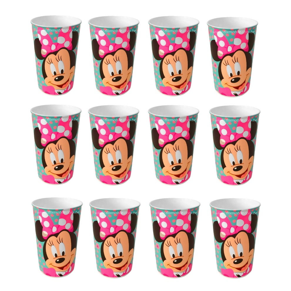 Kit com 12 Copo Festa Infantil da Minnie Mouse Disney 320ML