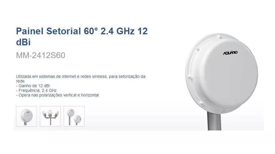 Kit com 2 Antenas Aquario Painel Setorial 60º 2.4ghz 12dbi