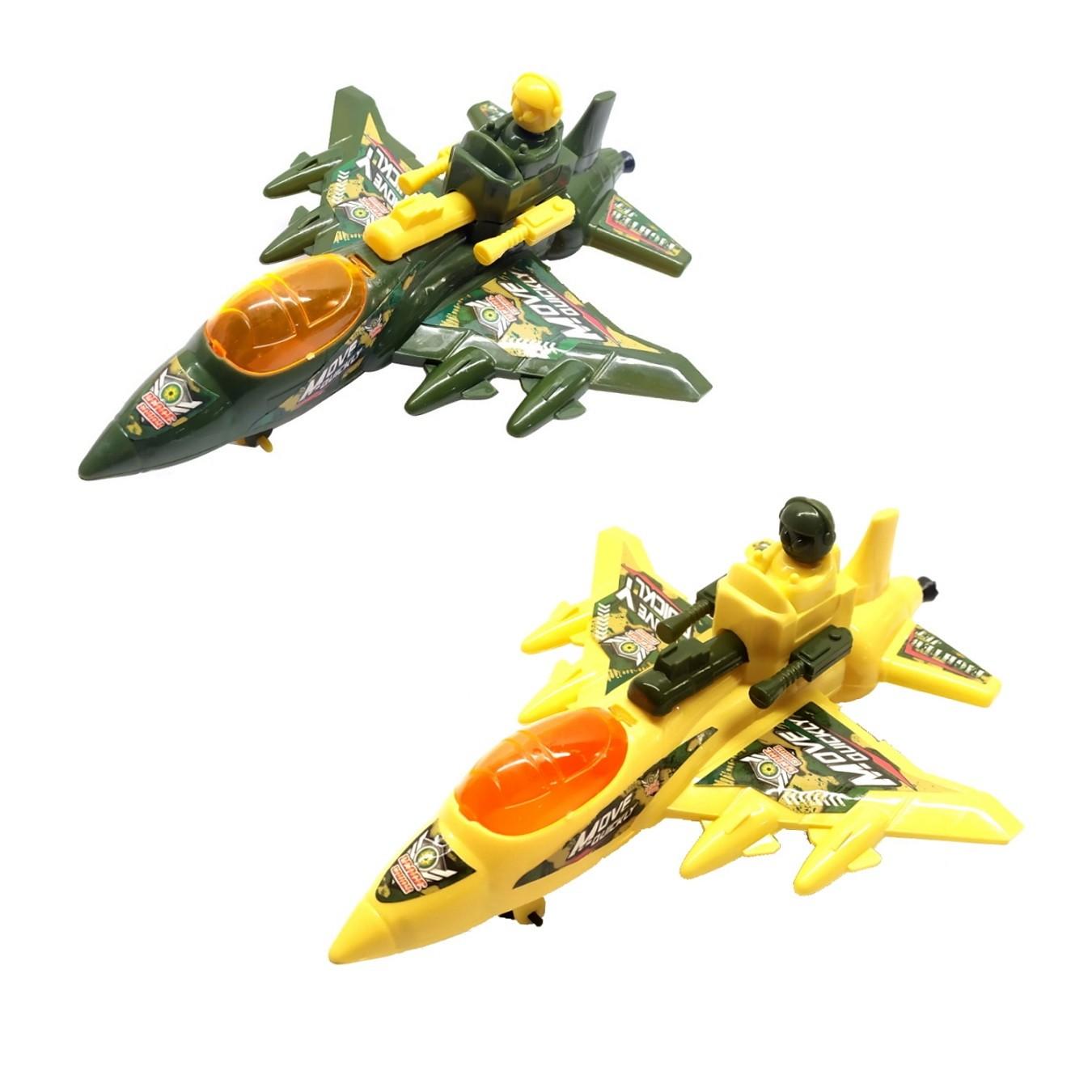 Kit com 2 Avião Militar Caça do Exército a Corda Brinquedo Infantil