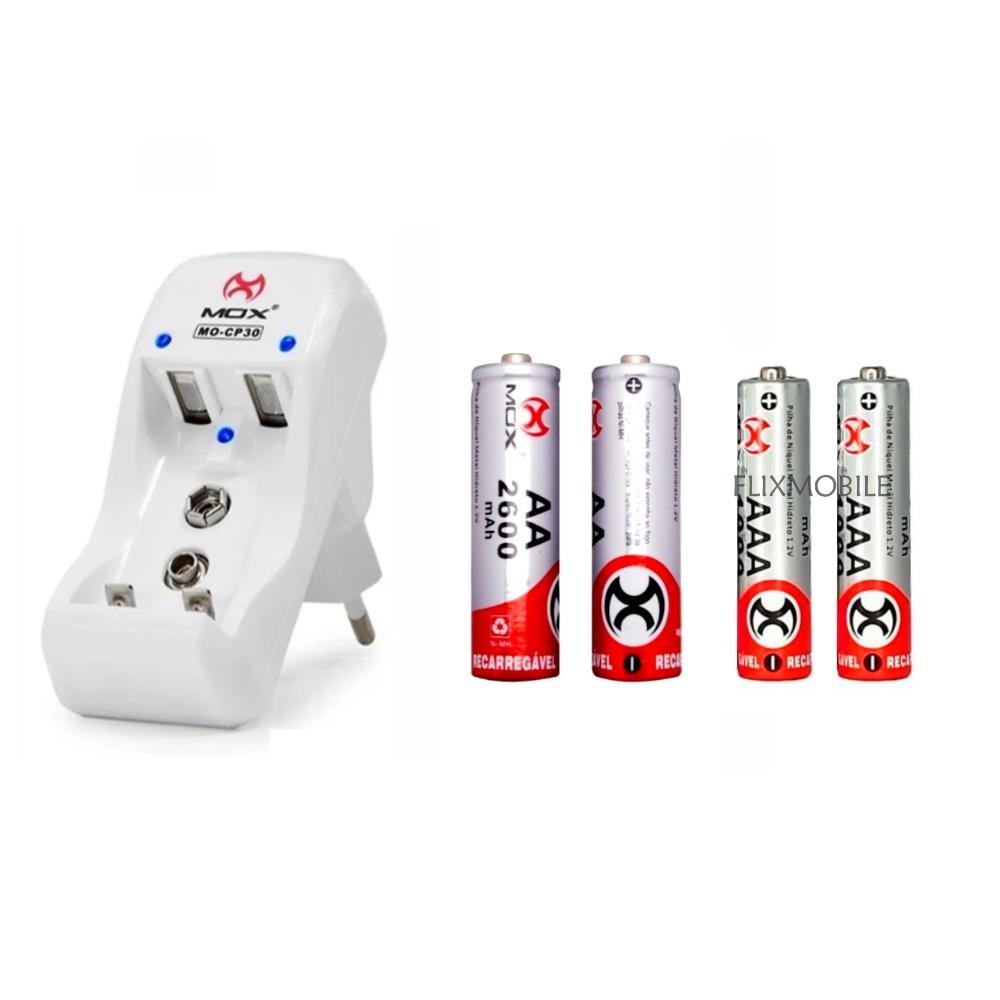 Kit com 2 Pilhas AA Normal e 2 Pilhas Palito Recarregáveis + Carregador MOX