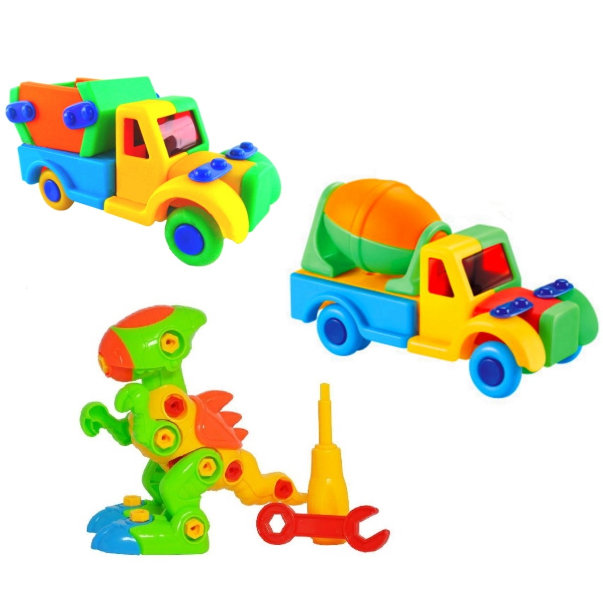 Kit com 3 Brinquedos Educativos de Montar com  Dinossauro Caminhão Caçamba e Betoneira