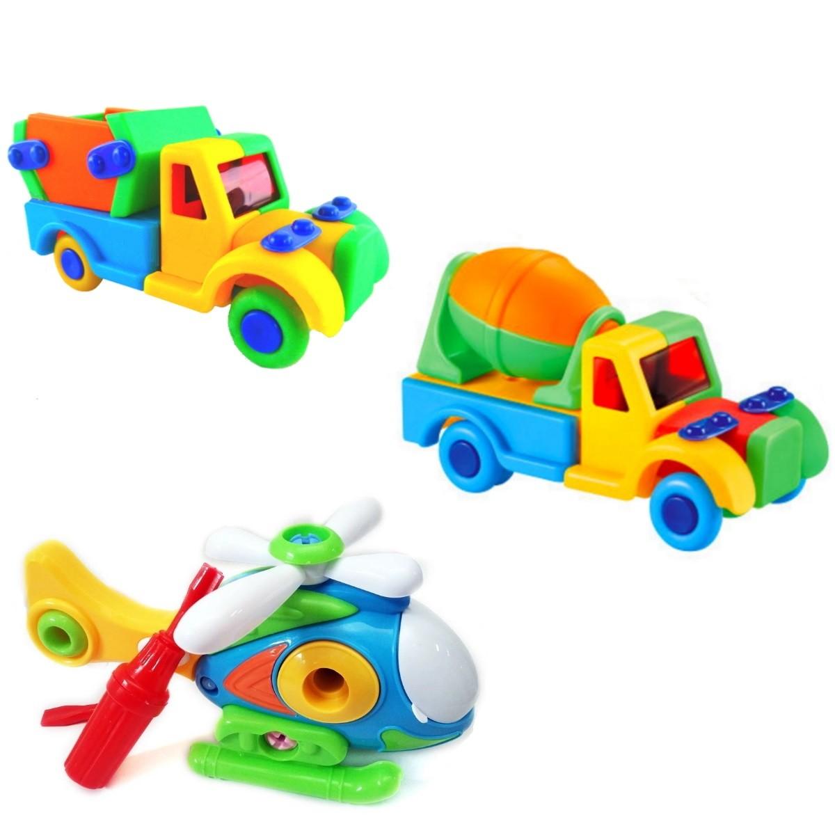 Kit com 3 Brinquedos Educativos de Montar com Helicóptero Caminhão Caçamba e Betoneira