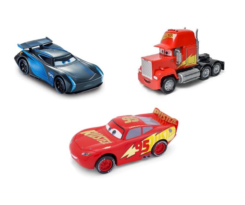 Kit com 3 Carrinhos Disney Carros Jackson Storm Mack e Relâmpago Mcqueen Rusteze
