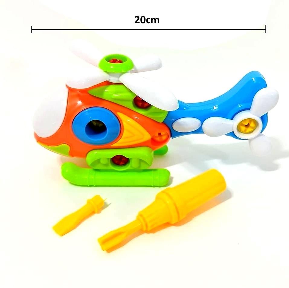 Kit com 4 Brinquedos Educativos de Montar com  Dinossauro Helicóptero Avião e Caminhão