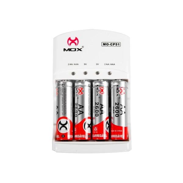 Kit com 4 Pilhas AA Normal e 4 Pilhas Palito Recarregáveis + Carregador MOX