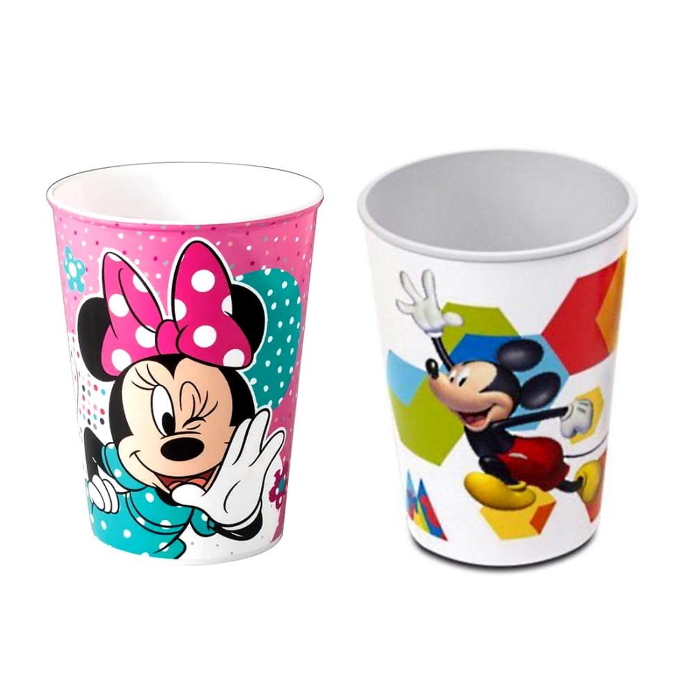 Kit Copo Infantil do Mickey e da Minnie 320ml Alta Qualidade