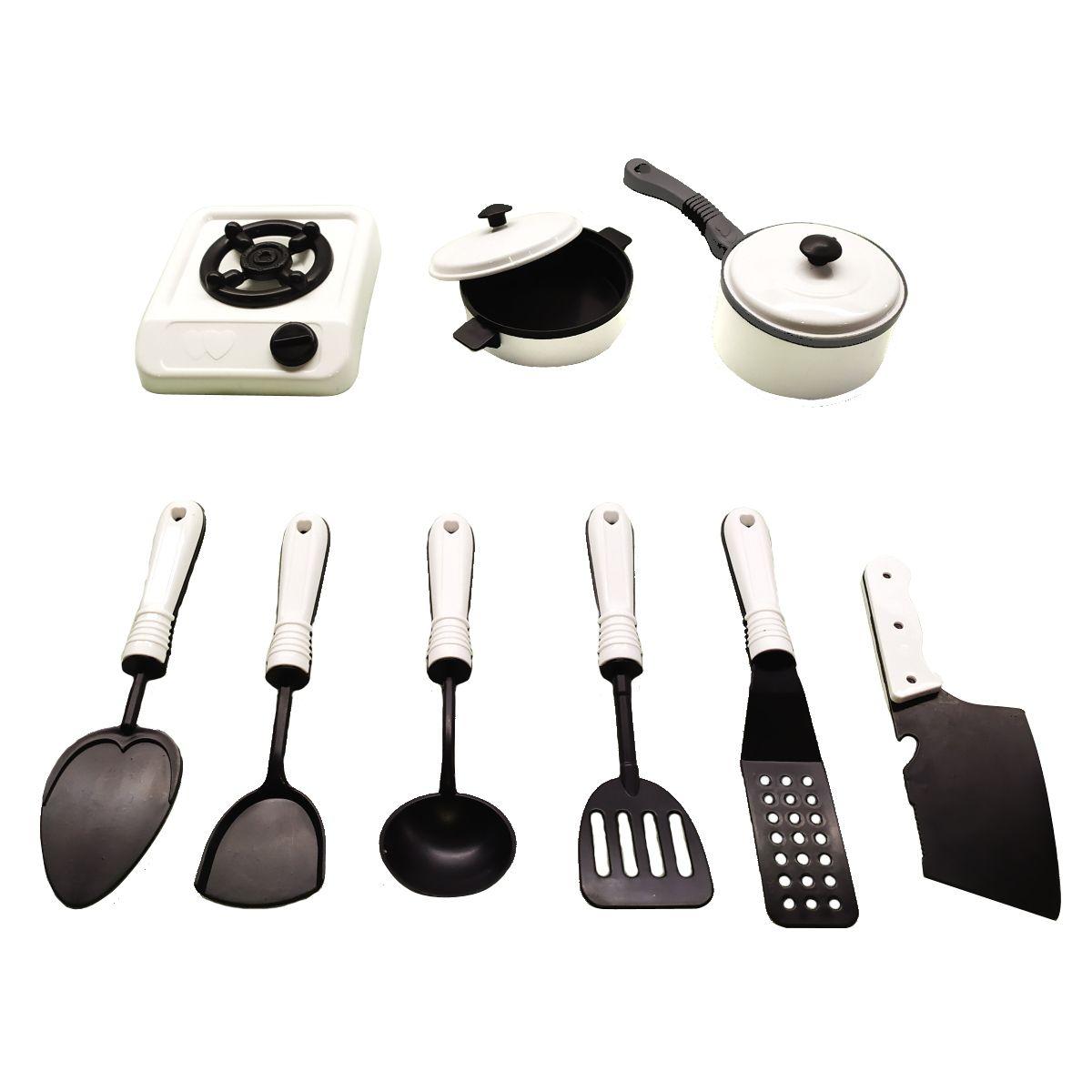 Kit Cozinha Panelinhas Com Fogão e utensílios Infantil com 11 Peças