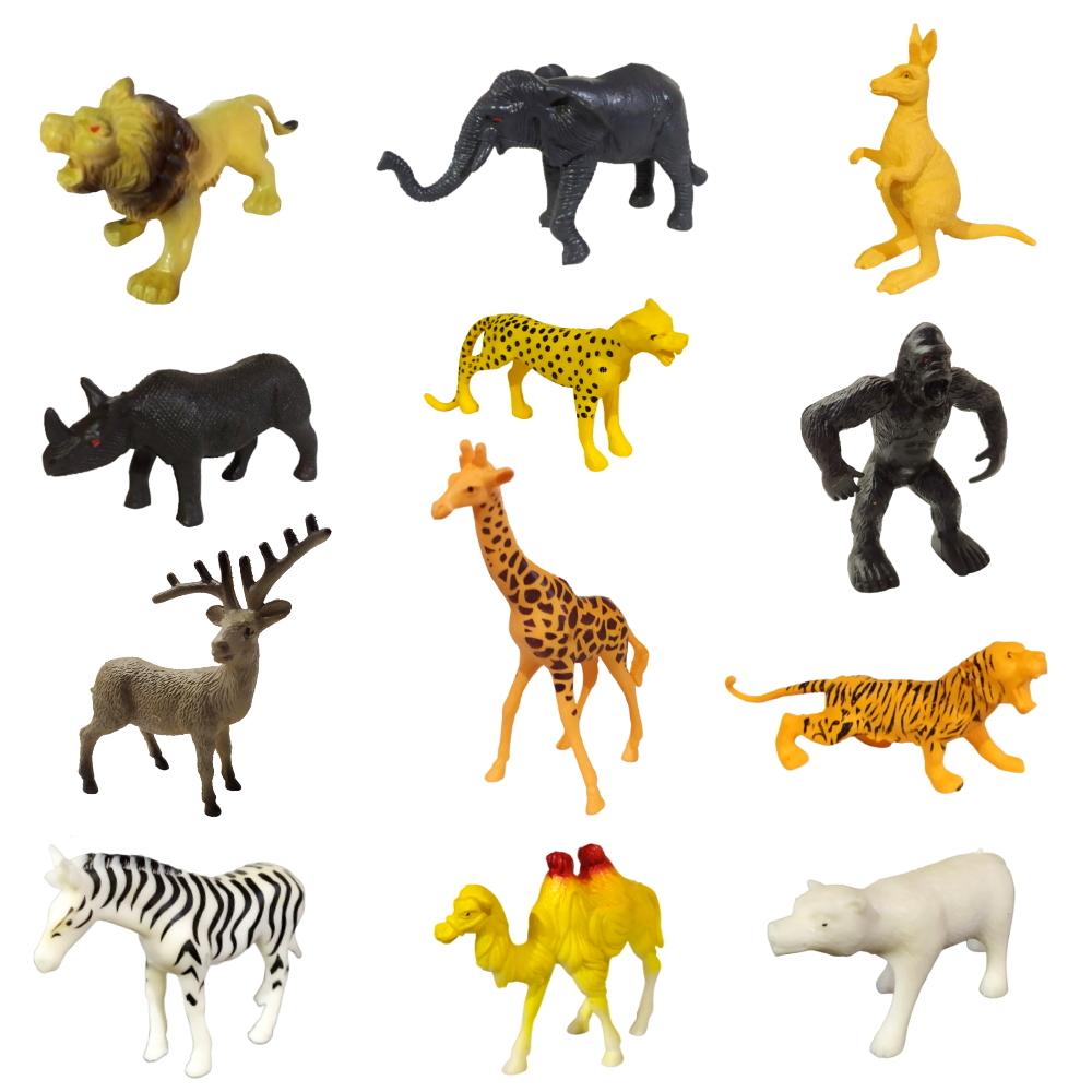 Kit de Animais da Selva com 12 bichos de plástico