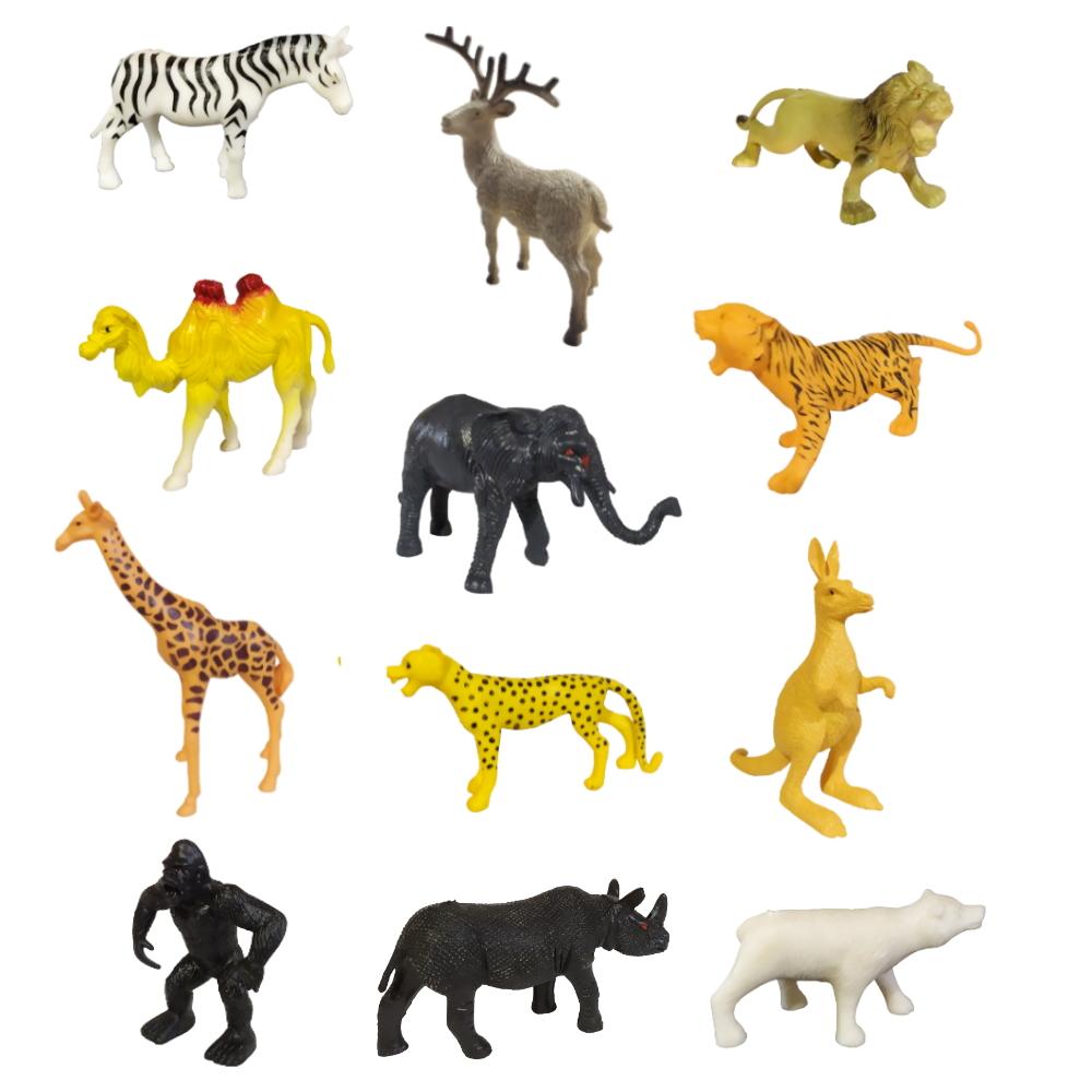 Kit de Animais da Selva com Dinossauros Realistas 18 Bichos