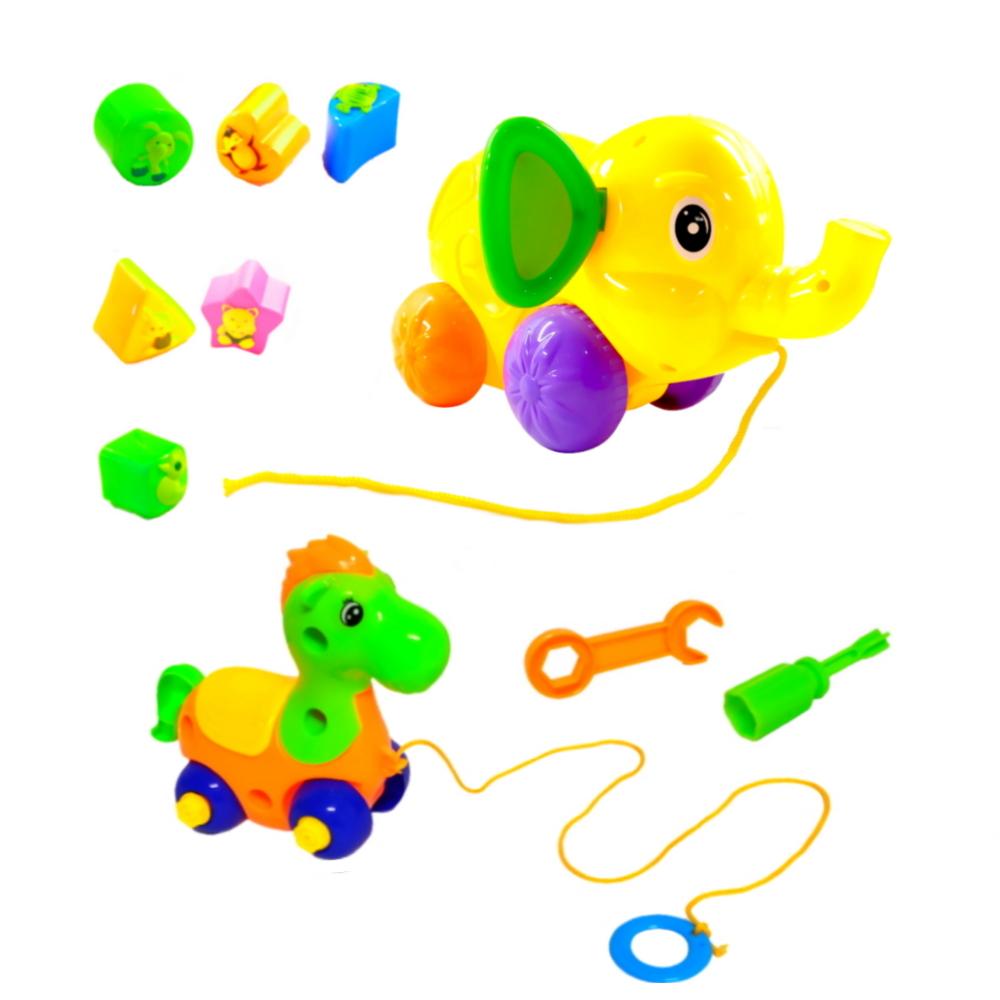Kit de Brinquedos de Montar Encaixar e Puxar Cavalo e Elefante