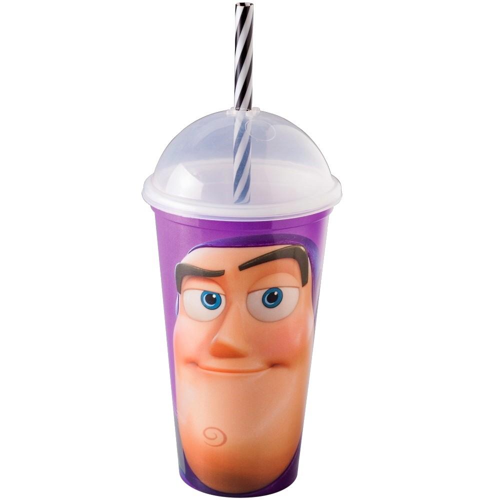 Kit de Copos Shake do Toy Story com Tampa e Canudo Woody e Buzz de 500ML