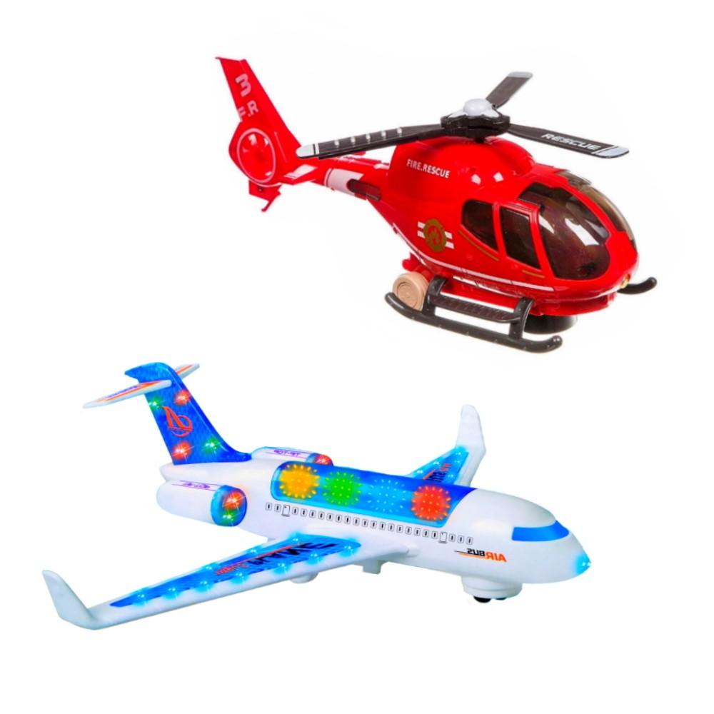 Kit de Helicóptero e Avião Brinquedo Infantil Bate e Volta Luzes e Sons