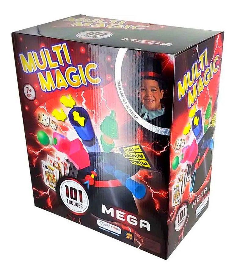 Kit de Mágica Infantil com 101 Truques Multi Magic com Cartola Varinha e Cartas