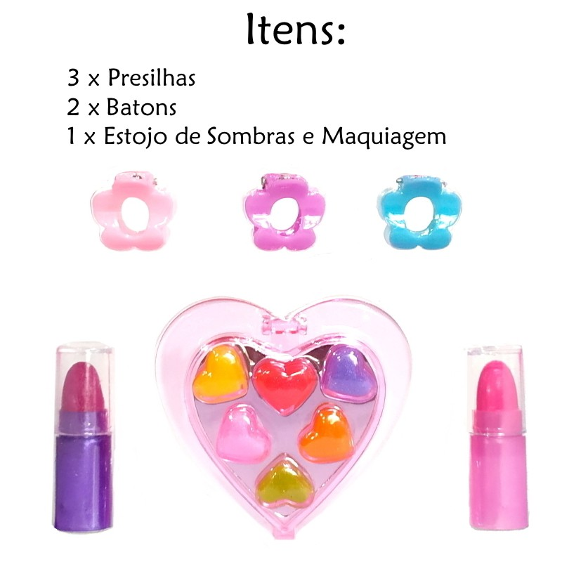 Kit de Maquiagem e Beleza Infantil Garota Fashion com 10 peças