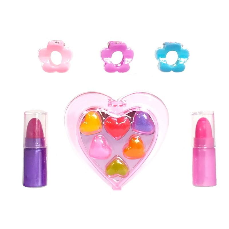 Kit de Maquiagem Infantil de Coração Garota Fashion com Batom e Sombras para Bonecas