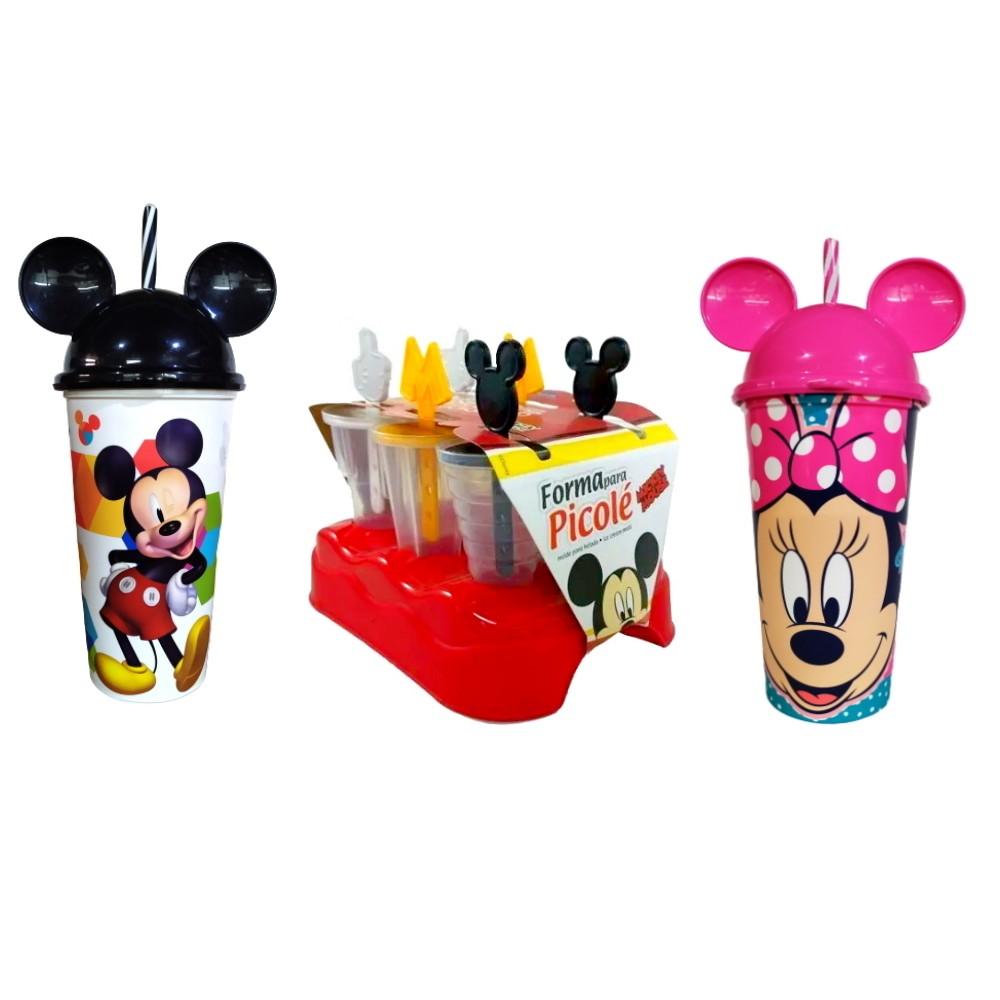 Kit Disney com Copo da Minnie e Mickey com Orelhas e Formas de fazer de Sorvete Picolé
