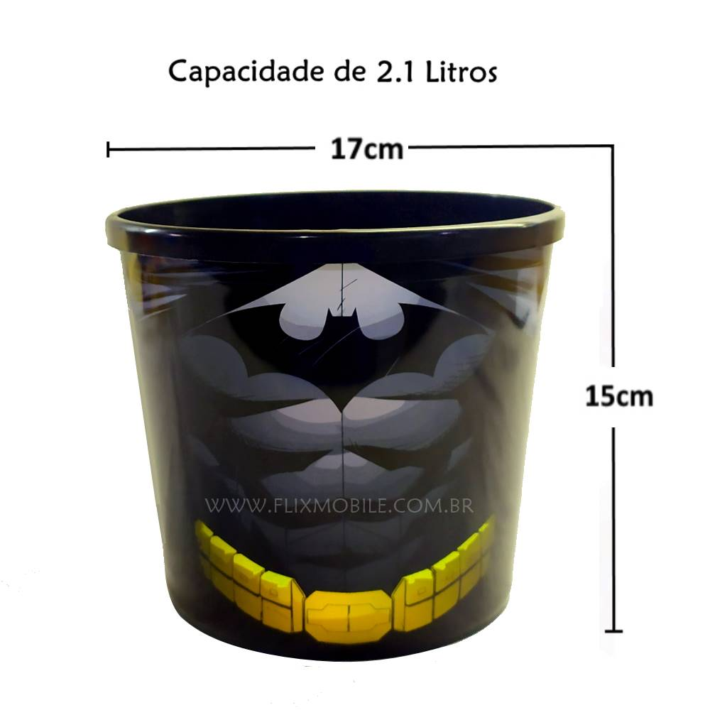 Kit do Batman com Balde Pipoca 2,1L e Copo Shake com Tampa e Canudo Alta Qualidade