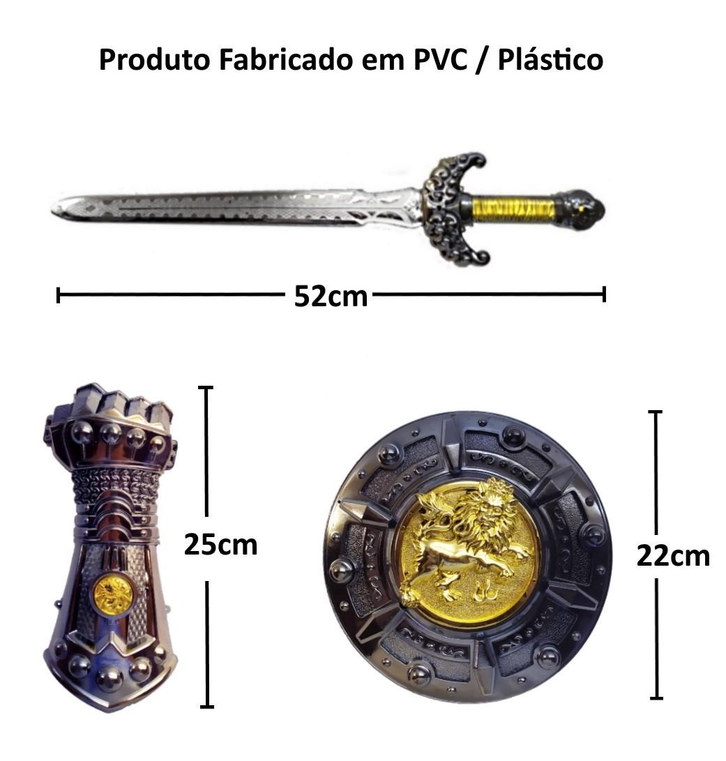 Kit Espada Medieval Lendária Infantil Com Escudo e Armadura de Punho