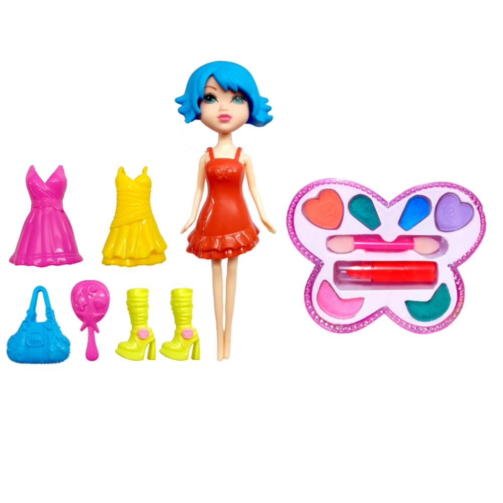 Kit Fashion com Boneca Troca Roupa Vestidos + Maquiagem infantil
