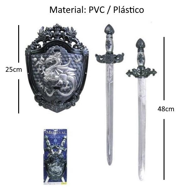 Kit Guerreiro Medieval Viking Com Espadas Escudos e Machdo Kit com 6 Peças