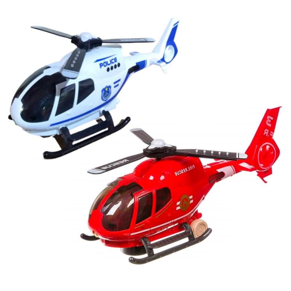 Kit Helicóptero Polícia e Bombeiros Bate e Volta Luzes Sons