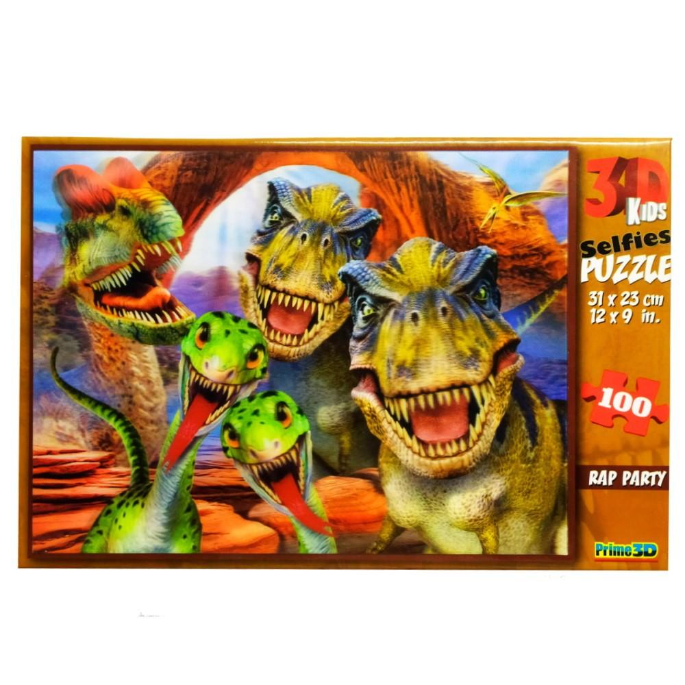 Kit Lógica e Diversão com Cubo Mágico e Quebra-cabeça Dinossauros de 100 Peças 3D