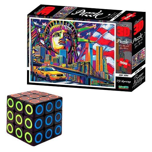 Kit Lógica e Diversão com Cubo Mágico e Quebra-cabeça New York de 500 Peças 3D