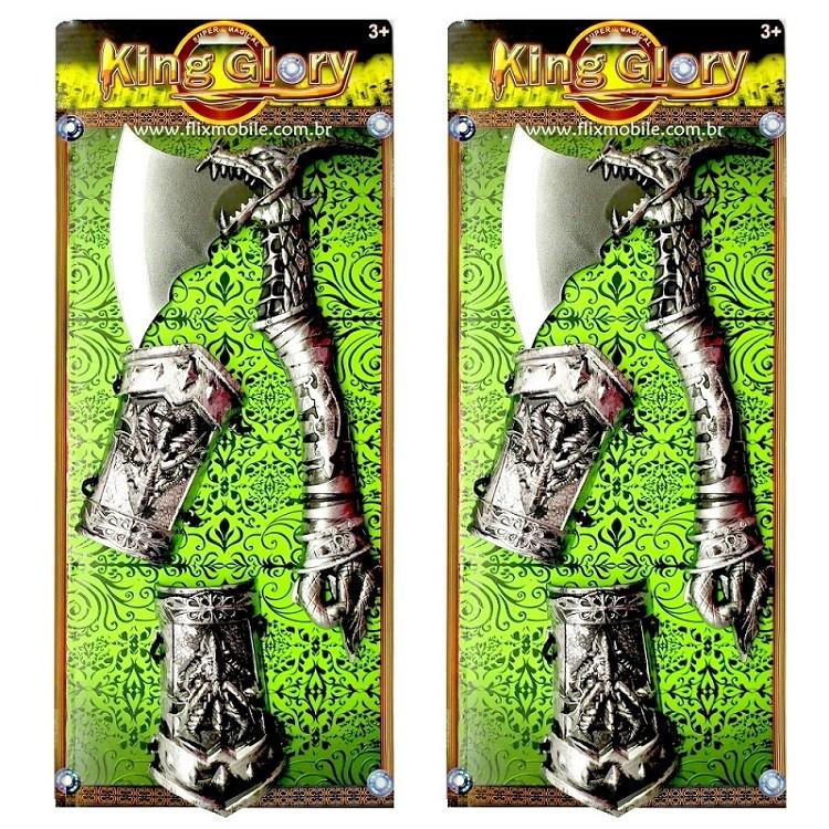Kit Lutinha Viking com Dois Machadinhos e Escudos de Brinquedo Infantil