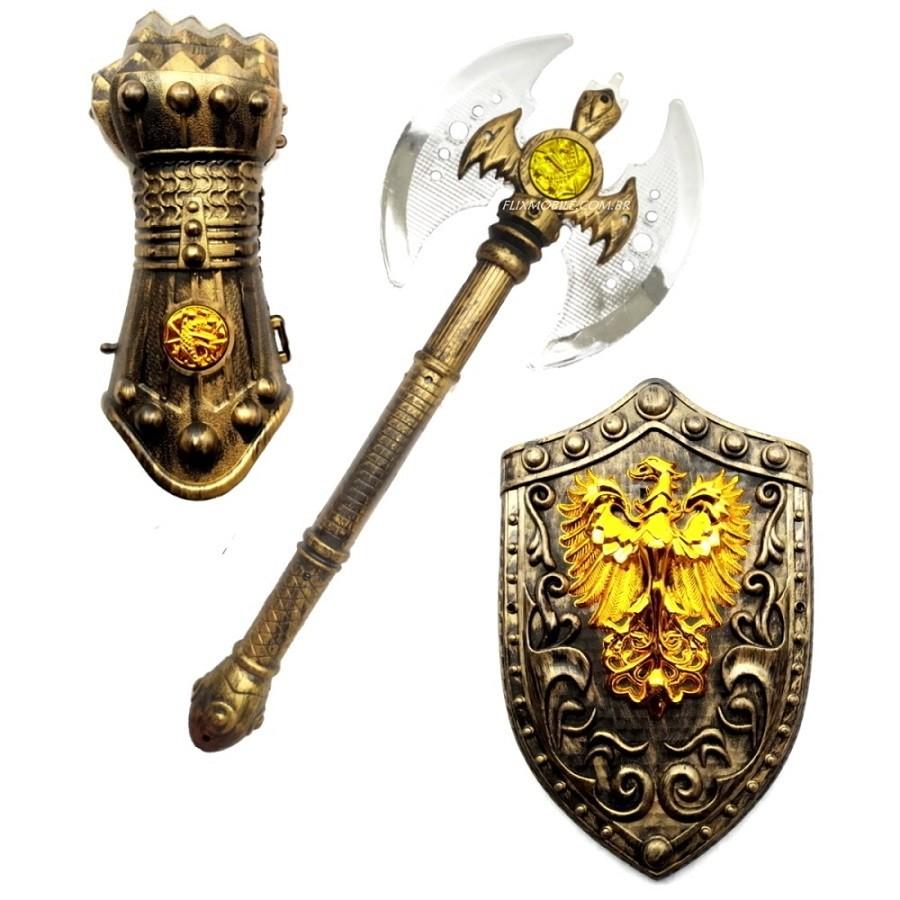 Kit Medieval Espada Infantil Com Escudo E Armadura De Punho