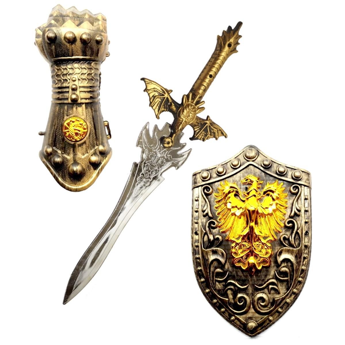 Kit Medieval Espada Lendária Infantil Com Escudo e Armadura de Punho