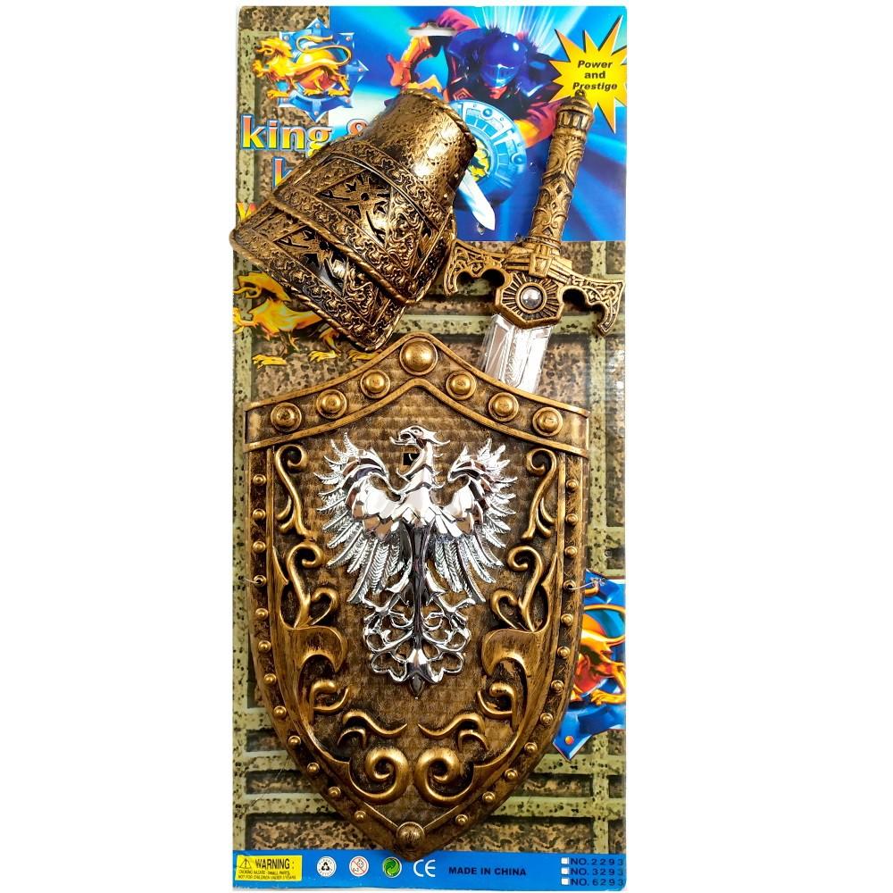 Kit Medieval Infantil com Espada Lendária Escudo e duas Armaduras de Punho