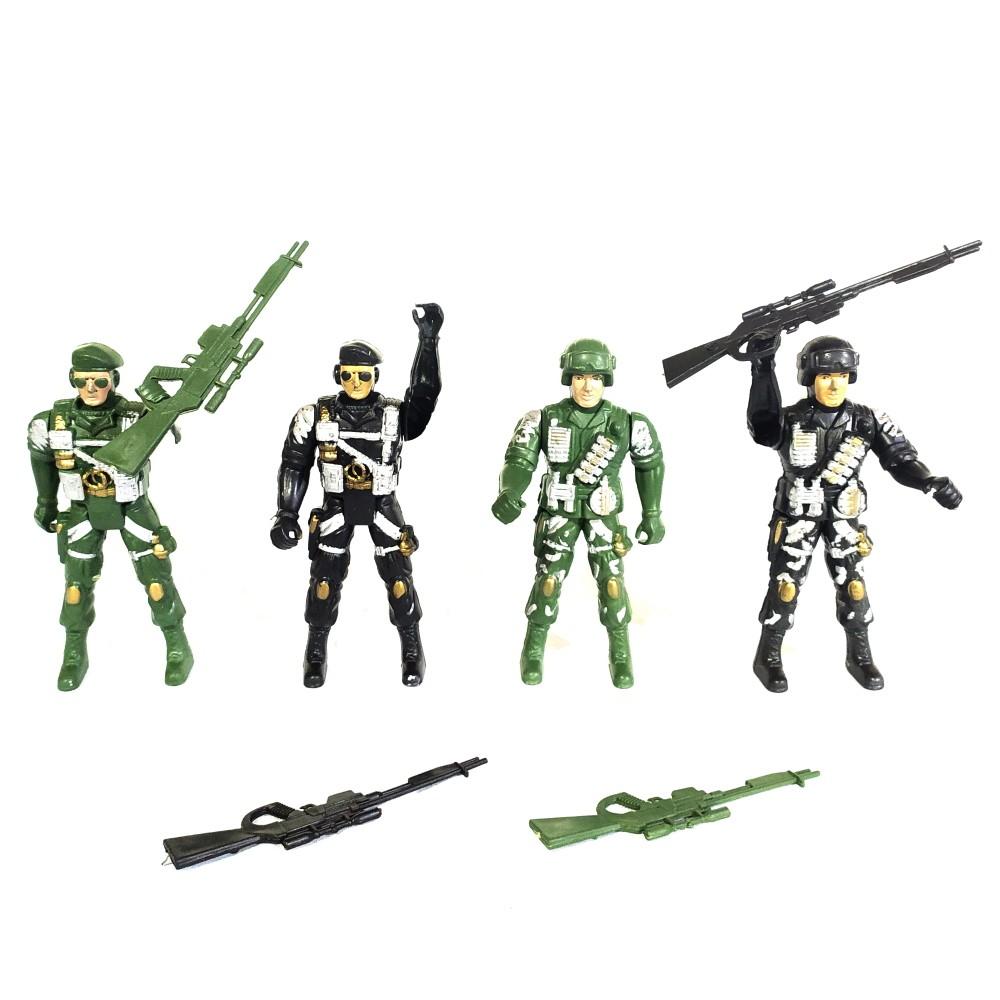 Kit Militar com 4 Bonecos Soldados de Guerra e 4 Arminhas de Brinquedo