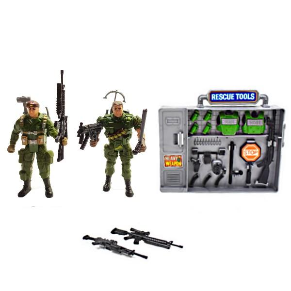 Kit Militar com dois Soldados de Resgate e Arminhas e e Acessórios