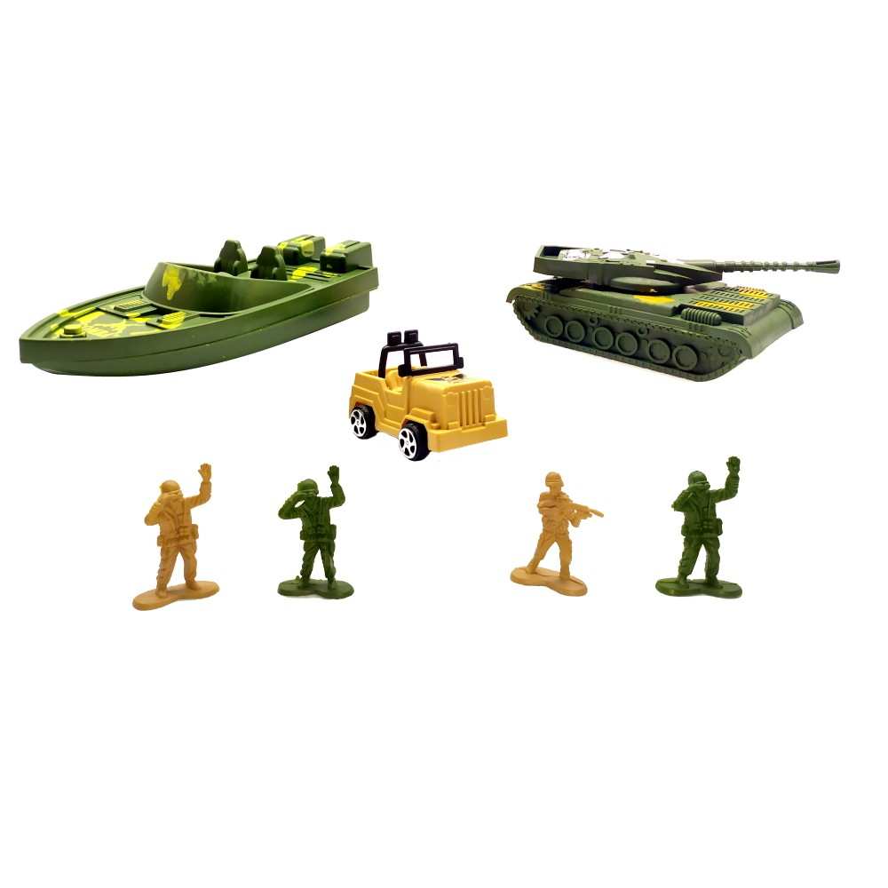 Kit Militar Soldados Barco Jeep Tanque de Guerra Coleção com 7 peças