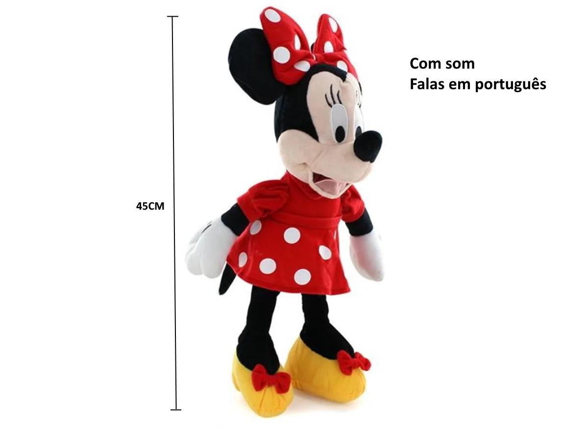Kit Minnie de Pelúcia de 45cm com falas em Português + Copo Com Orelhas
