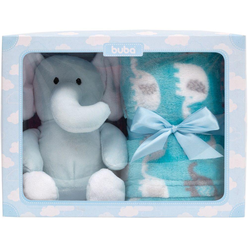 Kit Presente Gift Elefantinho de Pelúcia com Cobertor Manta Azul
