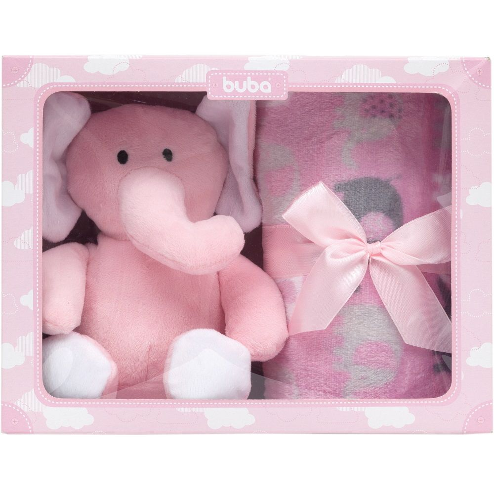 Kit Presente Gift Elefantinho de Pelúcia com Cobertor Manta Rosa