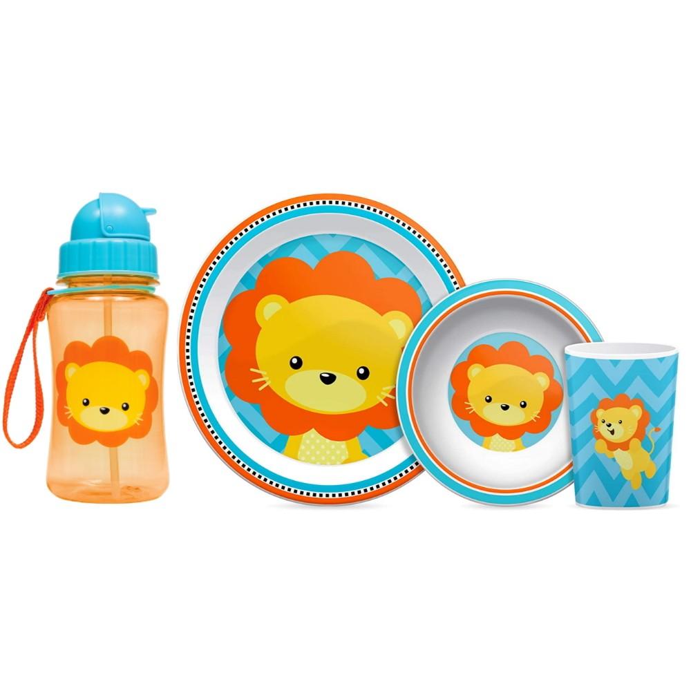 Kit refeição de Leão com Pratinho Bowl Copo e Garrafinha Infantil