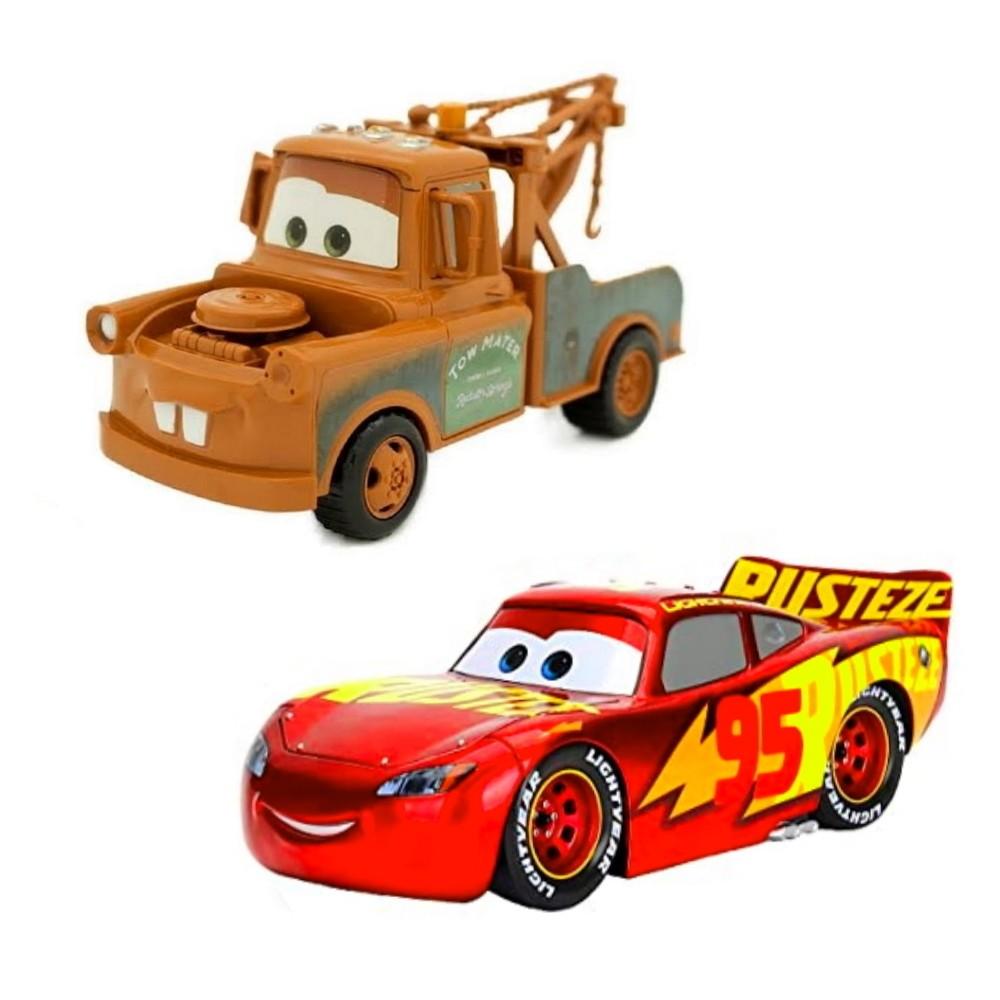 Kit Relâmpago Mcqueen Rusteze e Mate Disney Carros Roda Livre 13cm