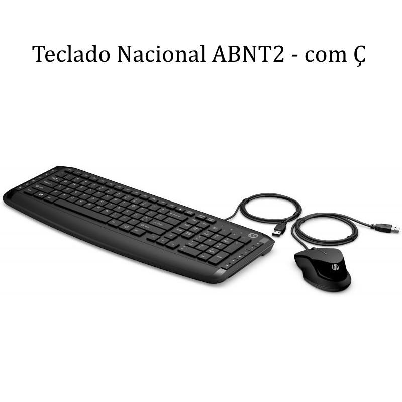 Kit Teclado e Mouse HP Nacional ABNT2 com fio USB PAVILION 200 Comfort
