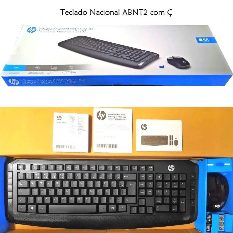 Kit Teclado e Mouse Sem Fio HP 300 Series Brasileiro ABNT2