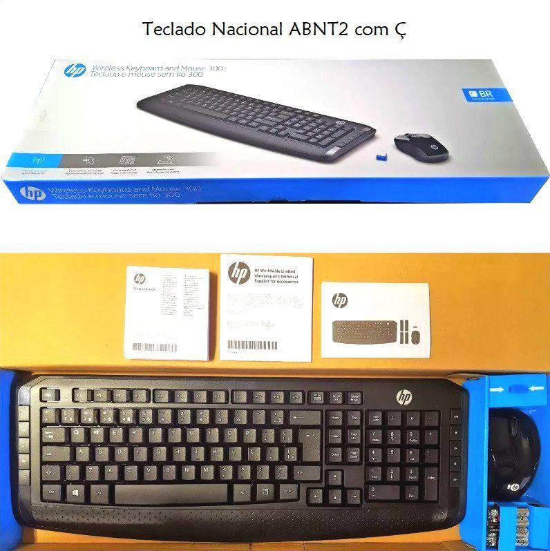 Kit Teclado e Mouse Sem Fio HP 300 Slim - Lançamento