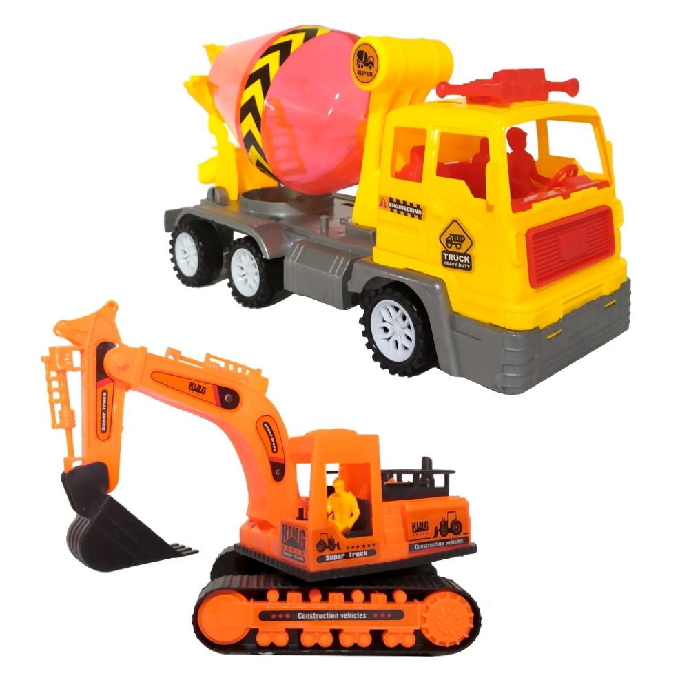 Kt Caminhão Betoneira e Escavadeira Fricção Canteiro de Obras