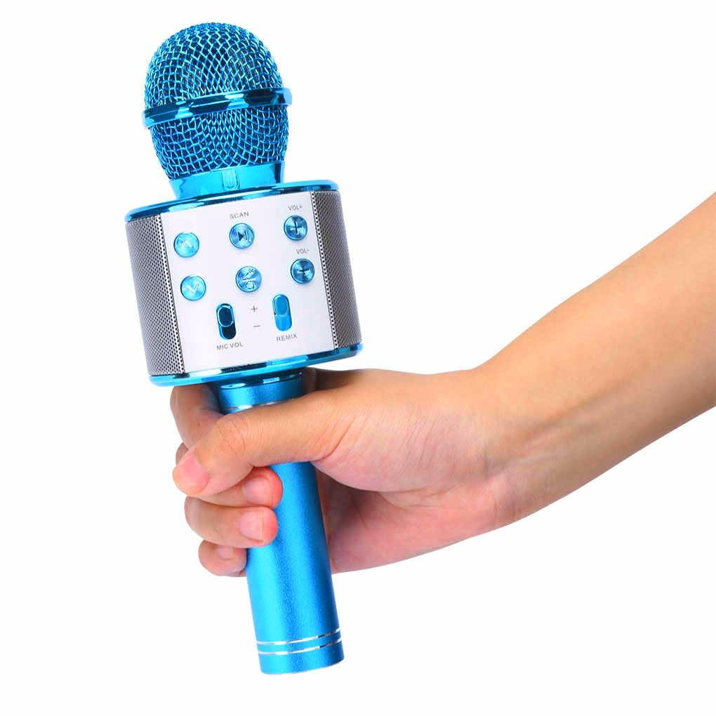 Microfone Bluetooth Karaokê Show Sem Fio Android e IOS Recarregável AZUL