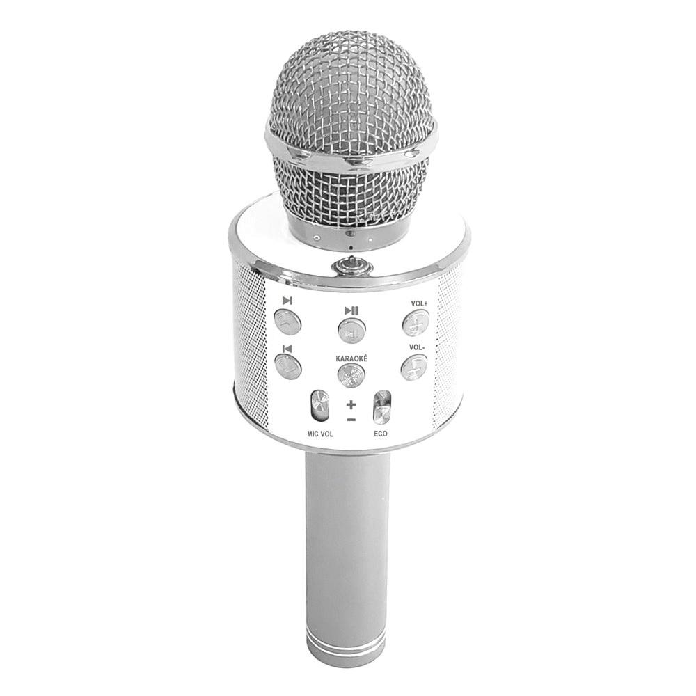 Microfone Bluetooth Karaokê Show Sem Fio Android e IOS Recarregável Prata