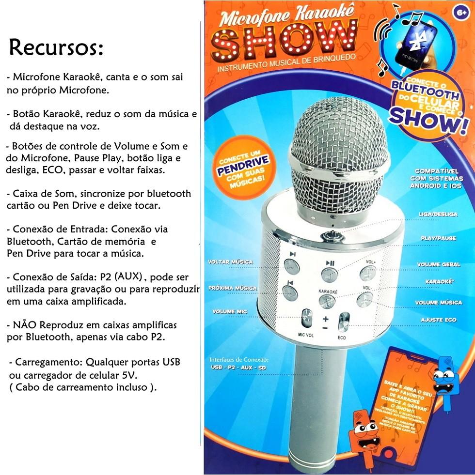 Microfone Bluetooth Karaokê Show Sem Fio Android e IOS Recarregável ROSA PINK