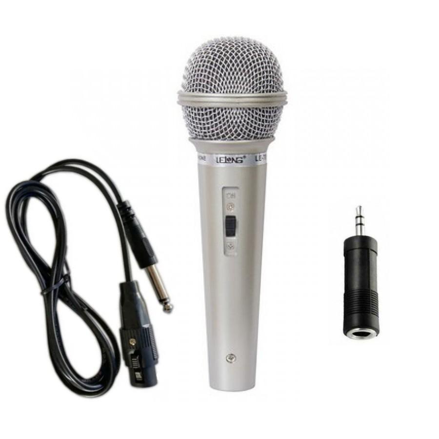 Microfone com fio 2.5 Metros para Caixas de Som e Karaokê com Cabo Aux. P2 e P10