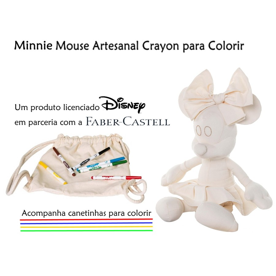 Minnie Mouse para Colorir Boneca Minnie Crayon de 45cm Artesanal