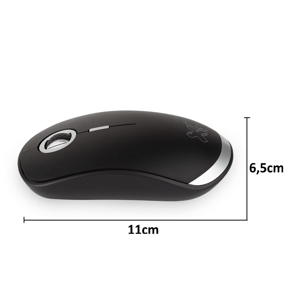 Mouse Recarregável Sem fio com Clique Silencioso Wi-Power