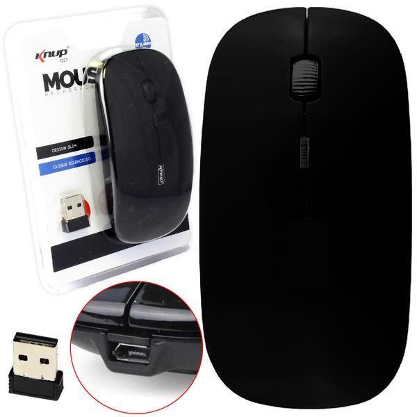 Mouse Recarregavel Sem fio com Clique Silencioso Knup G21